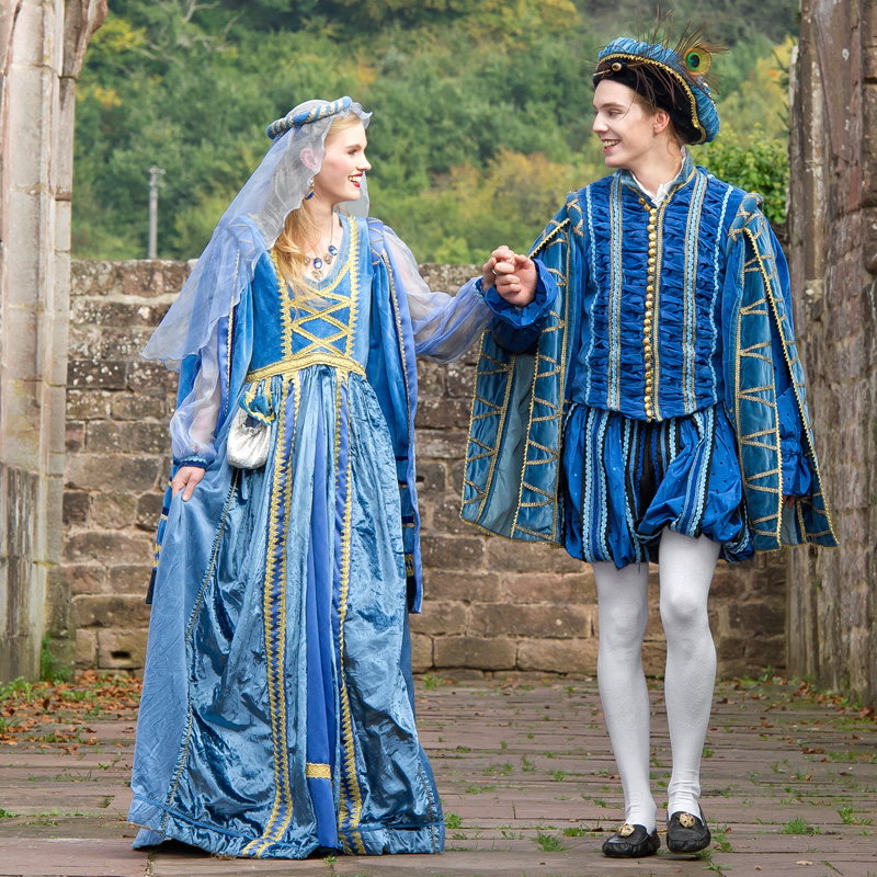 BL 0 Bella und Leonardo, Renaissance Paar in Blau renaissance mode mittelalter barock rokoko kostÃ
