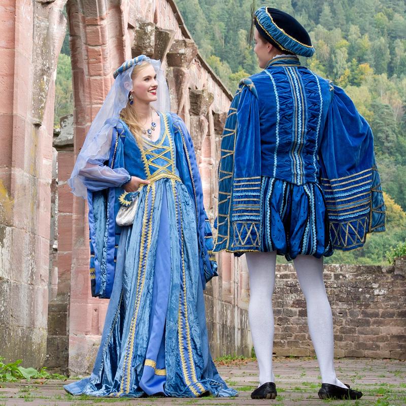 Renaissance Historisch Mann Frau BL 1 Bella und Leonardo, Renaissance Paar in Blau renaissance mode mittelalter barock rokoko kostÃ