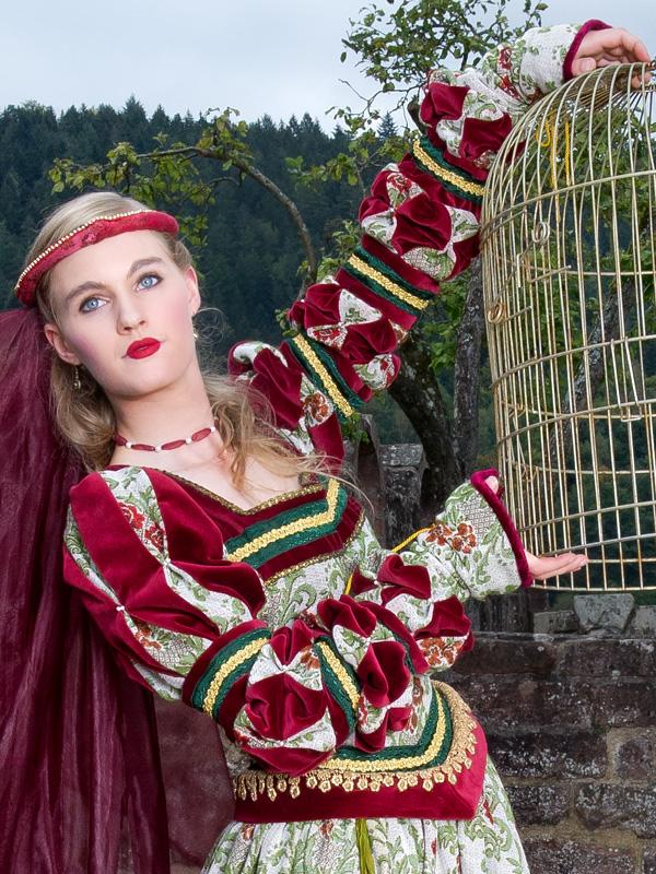Renaissance Kleid FL 5 Flora, der schöne Vogel mit goldenem Käfig renaissance mode mittelalter barock rokoko kostÃ